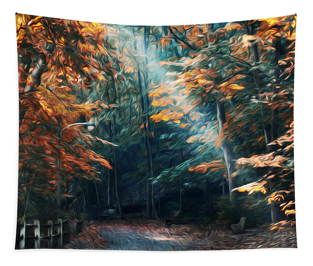 Autumn Sun Beam Tapestry featuring the photograph Autumn Sun Beam by Bill Cannon