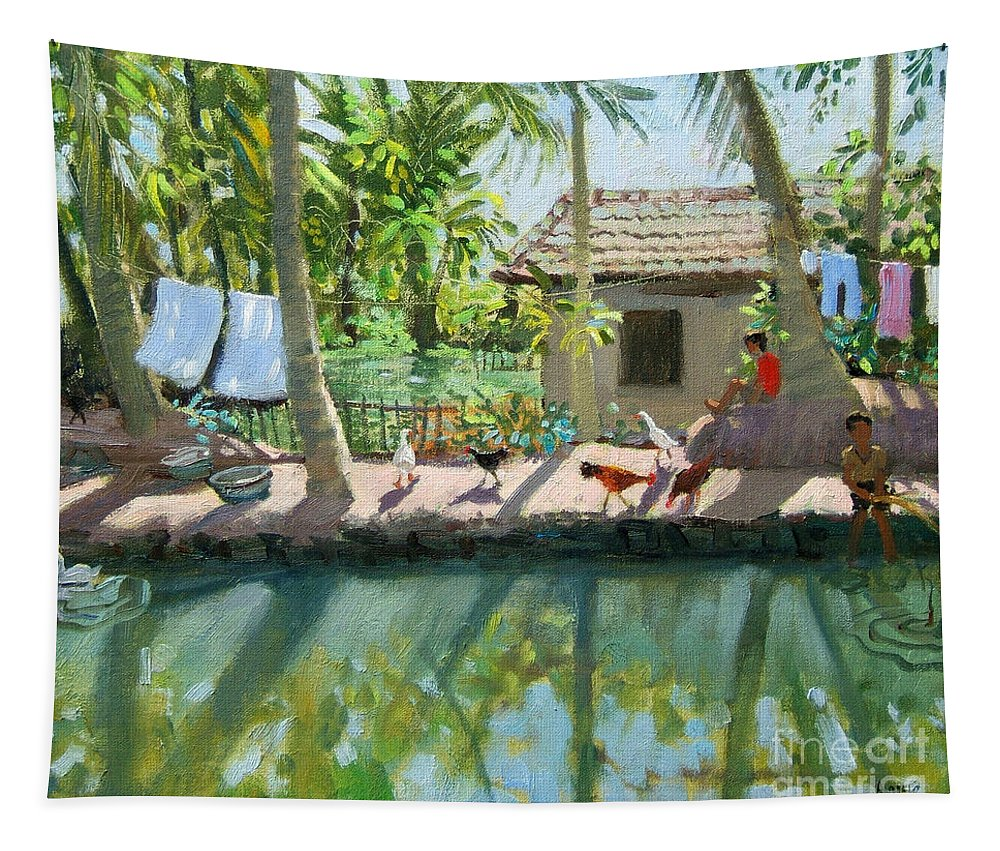 River Tapestry featuring the painting Backwaters India by Andrew Macara