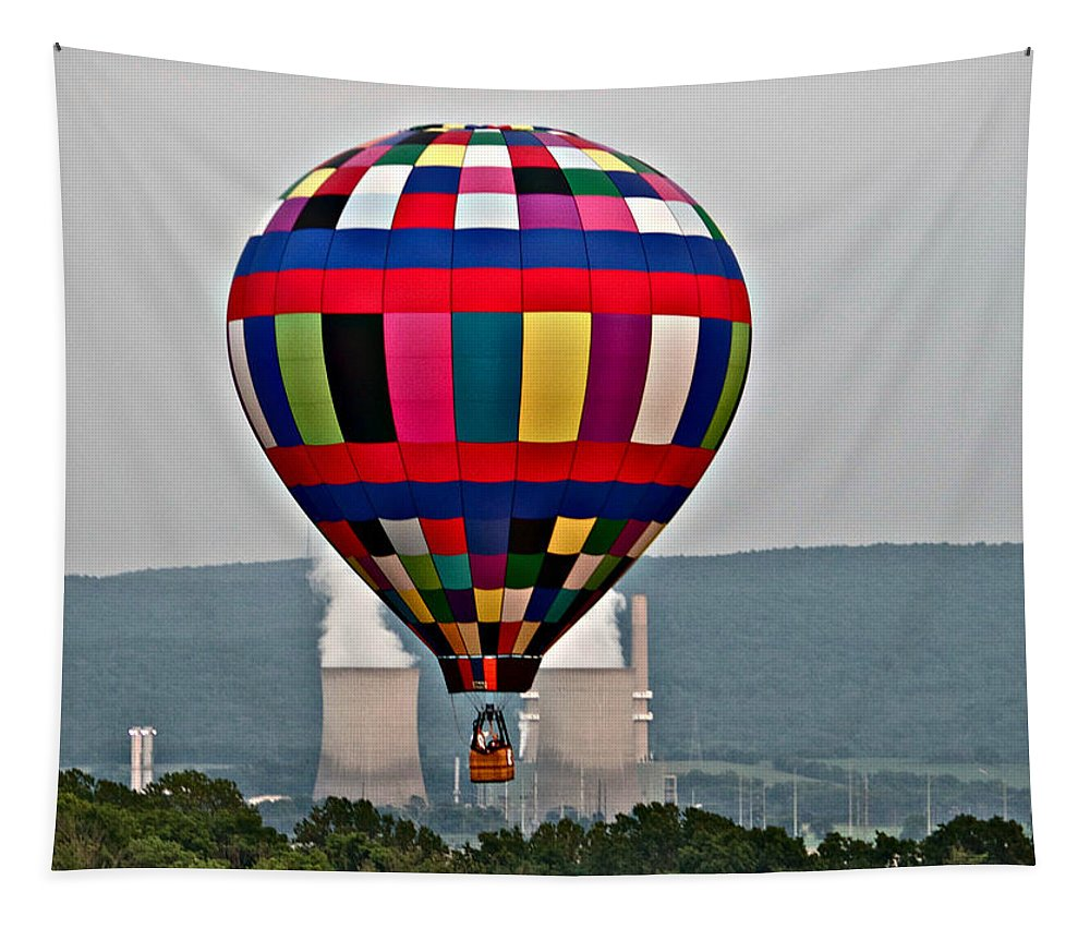 Ballooning Warren County Festival Balloon Power Stacks Tapestry featuring the photograph Ballooning Between The Stacks by Alice Gipson