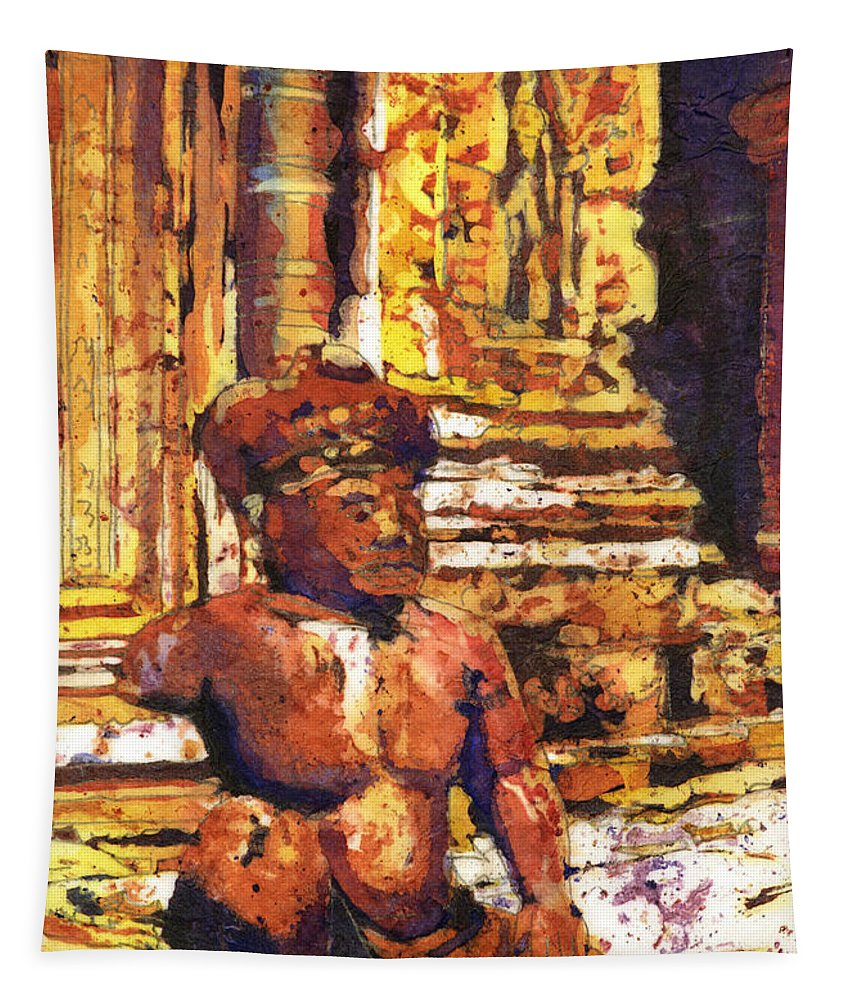 Ancient Tapestry featuring the painting Banteay Srei Statue by Ryan Fox