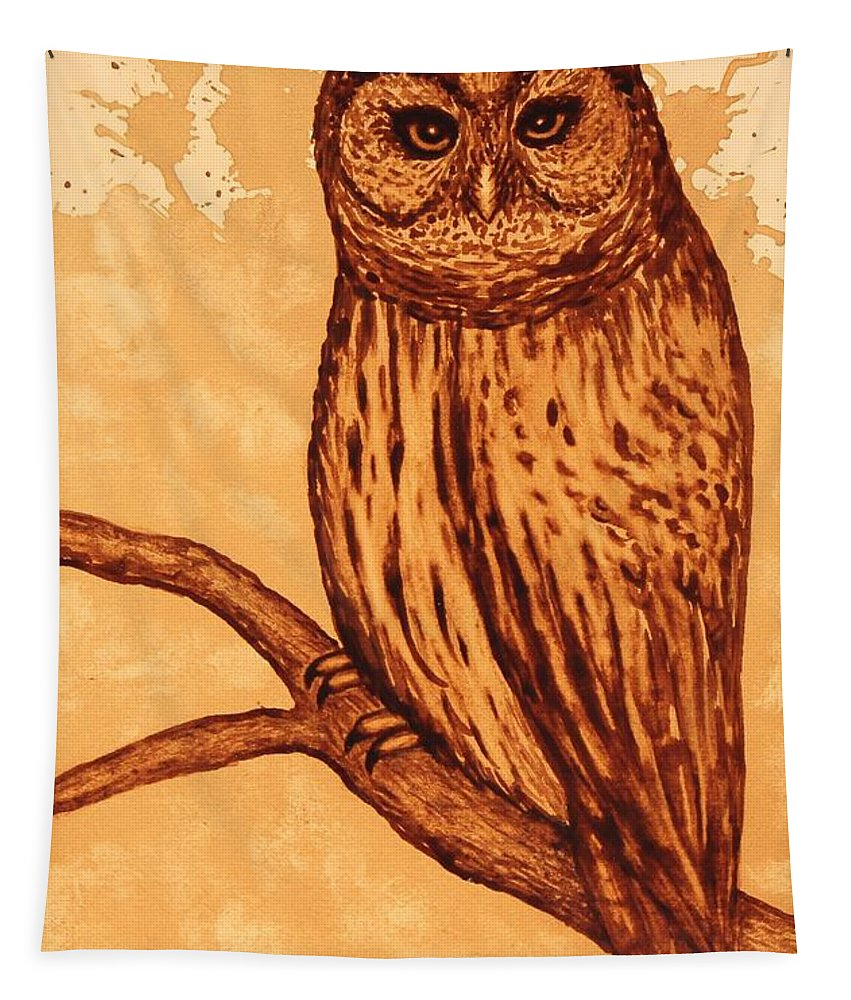 Barred Owl Painting With Coffee Tapestry featuring the painting Barred Owl Coffee Painting by Georgeta Blanaru