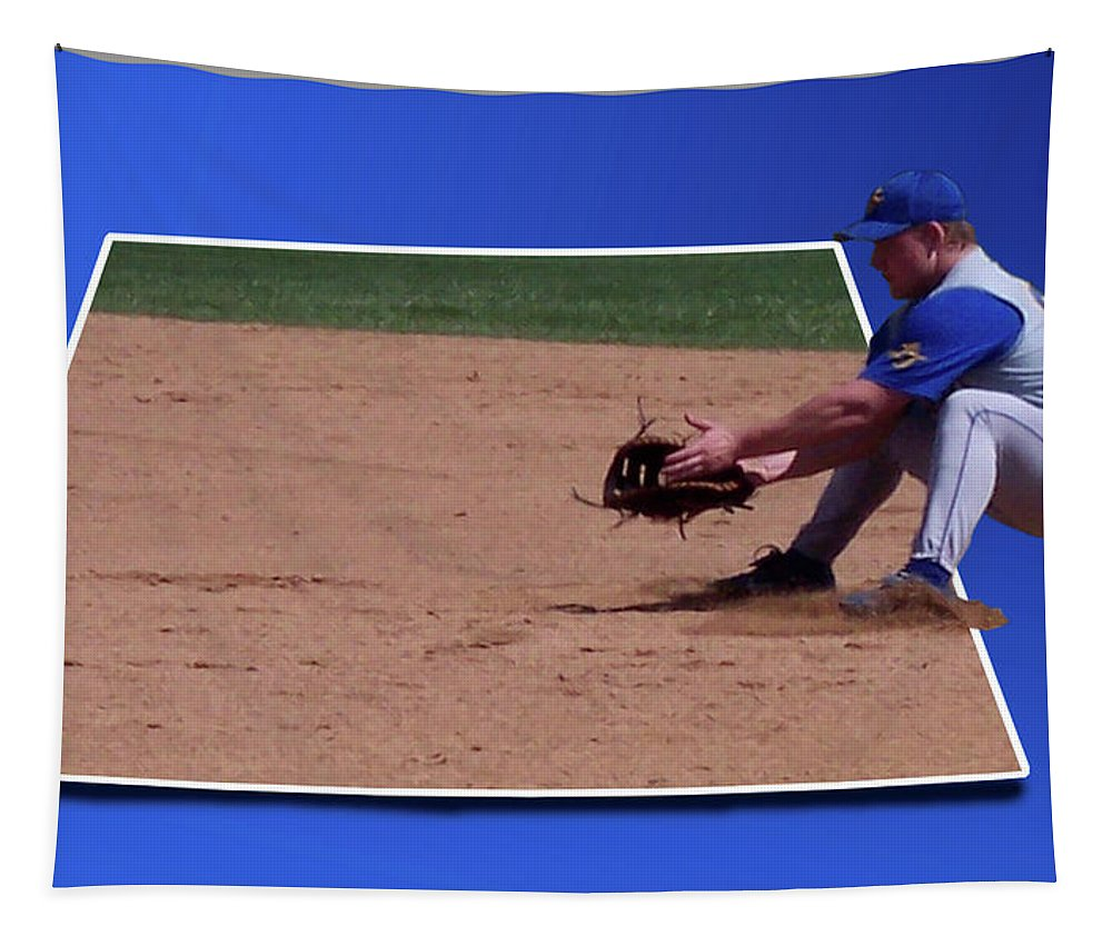 Out Of Bounds Tapestry featuring the photograph Baseball Hot Grounder by Thomas Woolworth