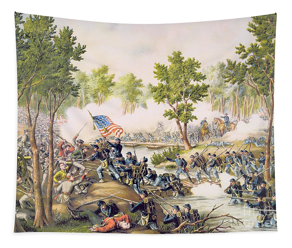 Ni; Spotsylvania; Battle; Battlefield; Union; Army;c Onfederate; U S A; Forces; Combat; Gunfire; Bayonets; Troops; Soldiers Tapestry featuring the painting Battle Of Spottsylvania May 1864 by American School