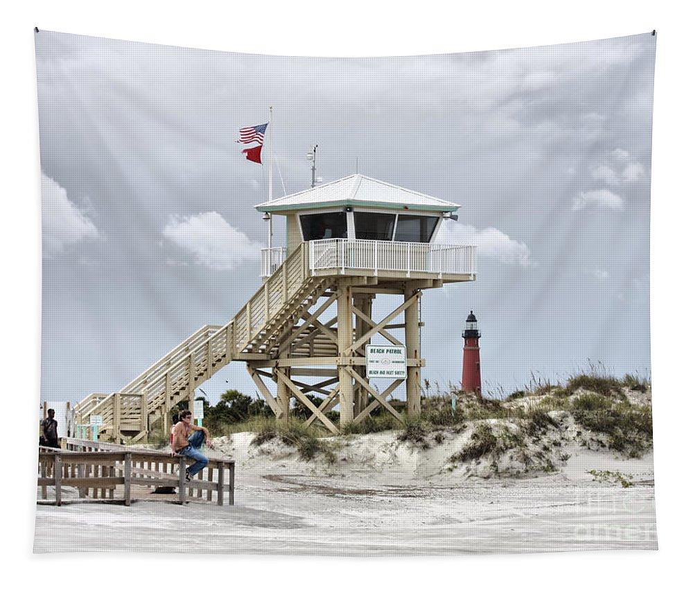 Beach Patrol Tapestry featuring the photograph Beach Patrol by Deborah Benoit