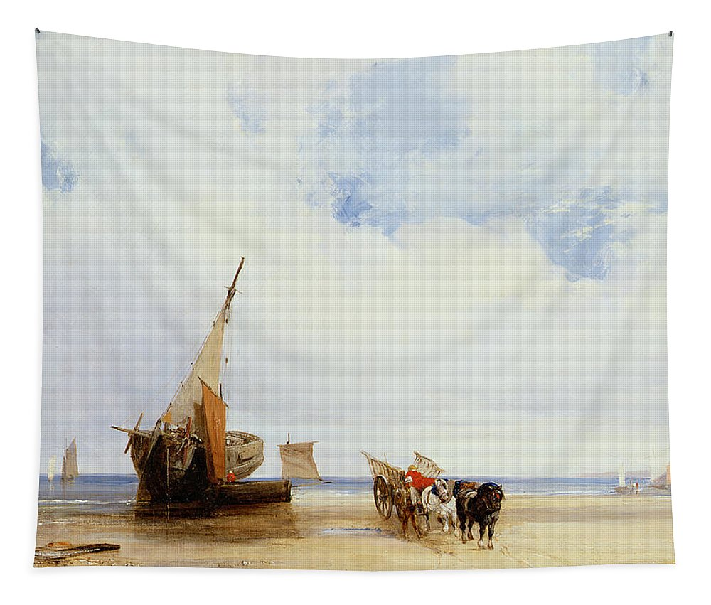 Beached Tapestry featuring the painting Beached Vessels And A Wagon Near Trouville by Richard Parkes Bonington