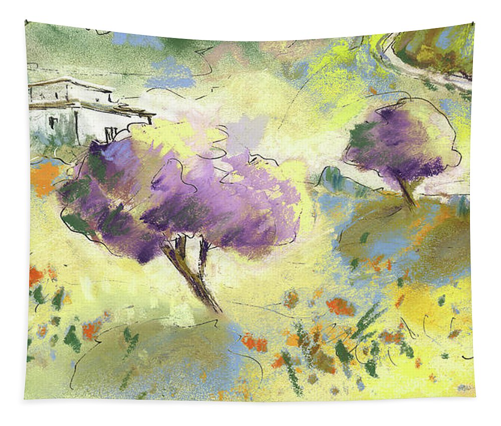 Spain Tapestry featuring the painting Beautiful Andalusia 04 by Miki De Goodaboom