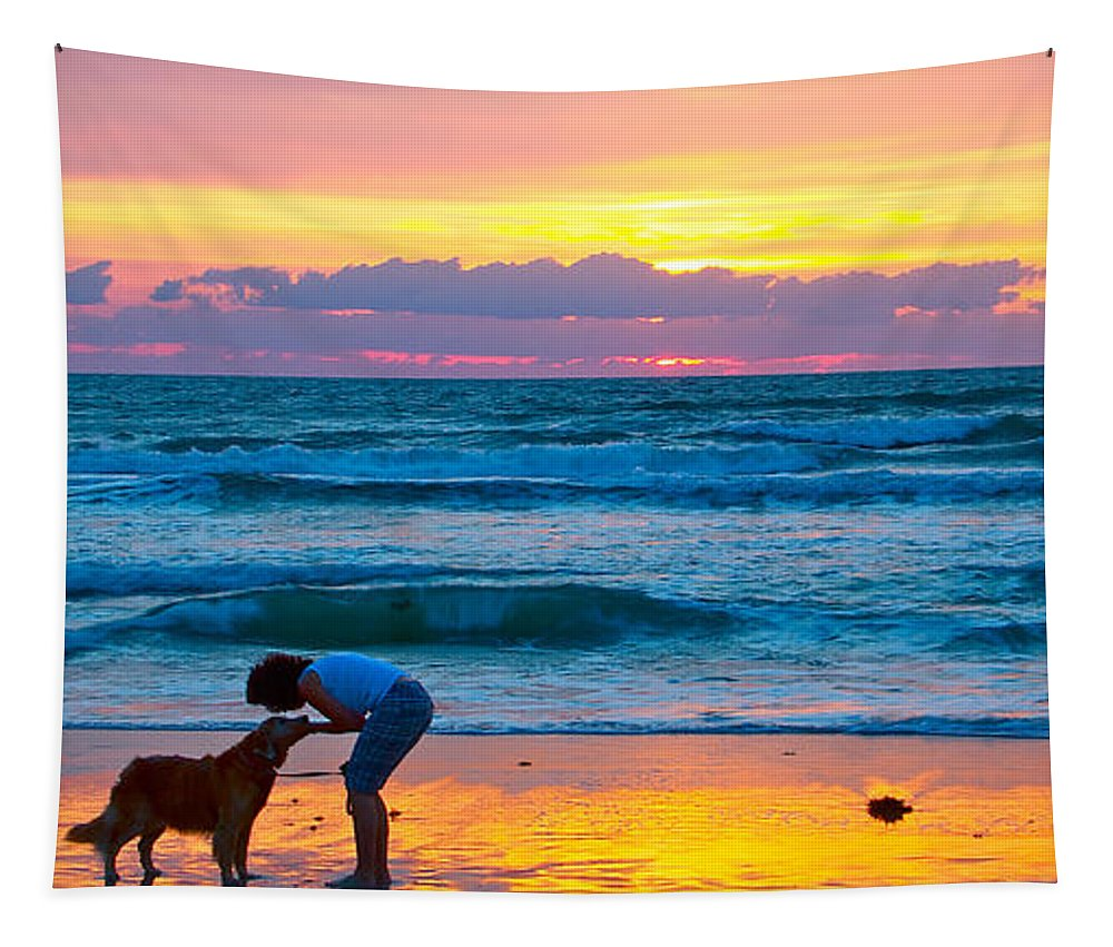 Bella Dog Lady Sunrise Beach Ocean Tapestry featuring the photograph Bella At Sunrise by Alice Gipson