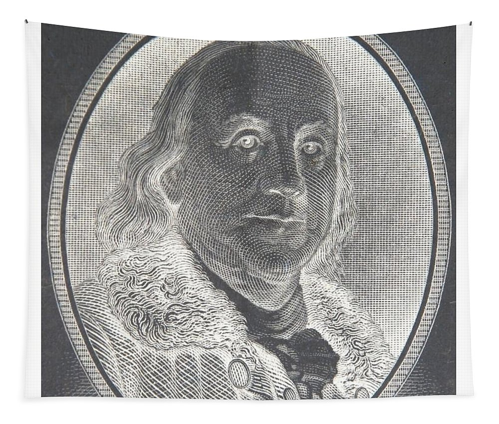 Ben Franklin Tapestry featuring the photograph Ben Franklin In Negative by Rob Hans