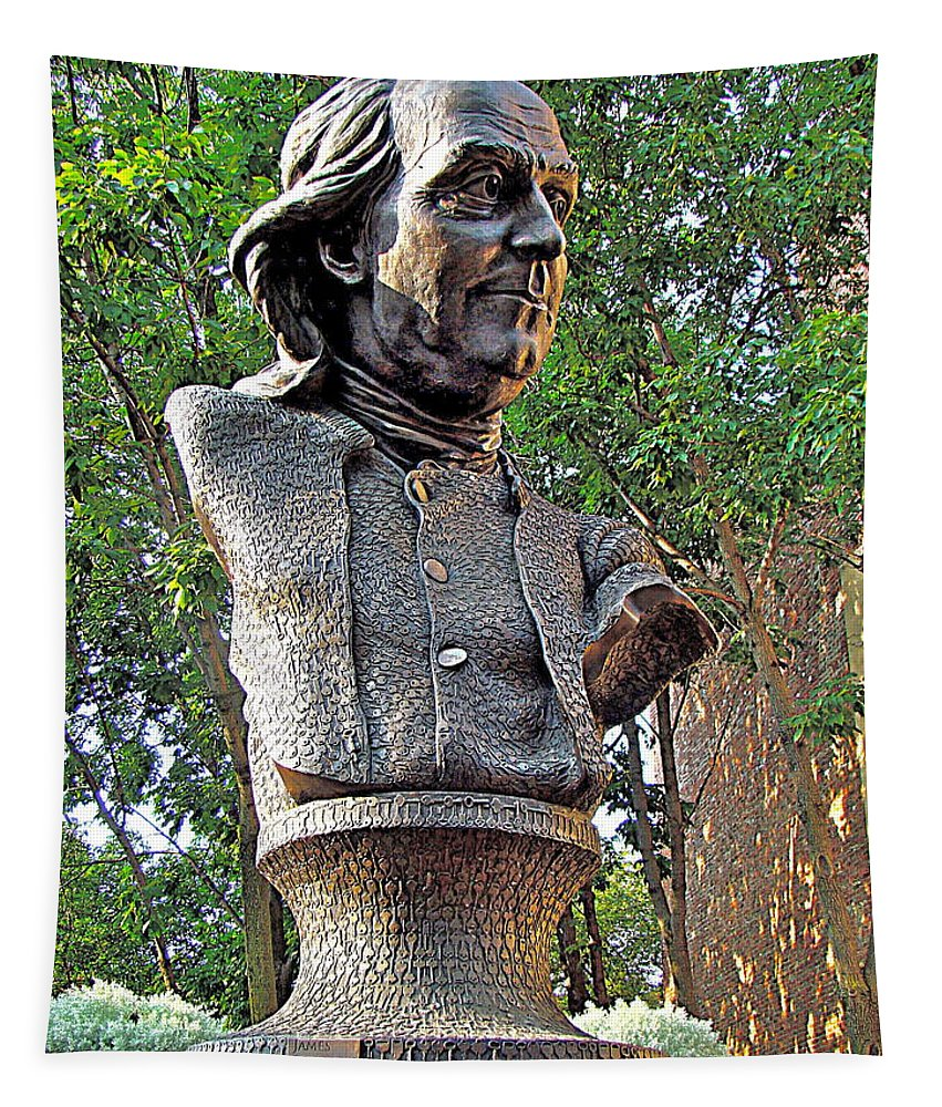Benjamin Franklin Bust Statue Philadelphia Bronze Tapestry featuring the photograph Benjamins Bust by Alice Gipson