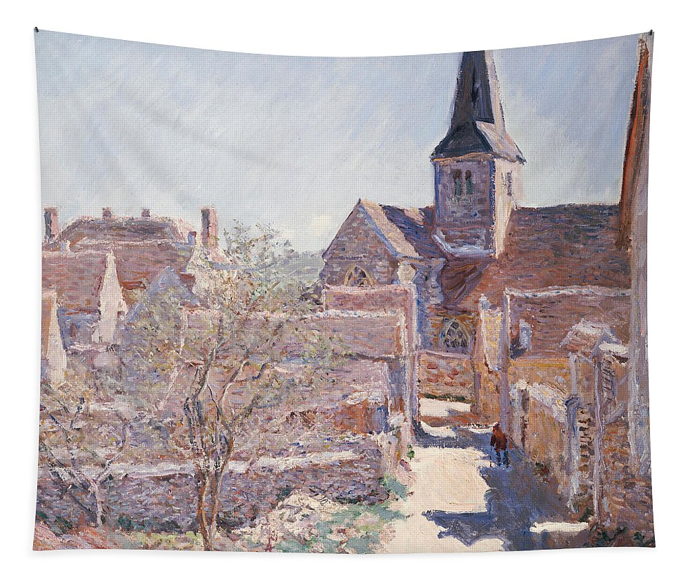 French Tapestry featuring the painting Bennecourt by Claude Monet