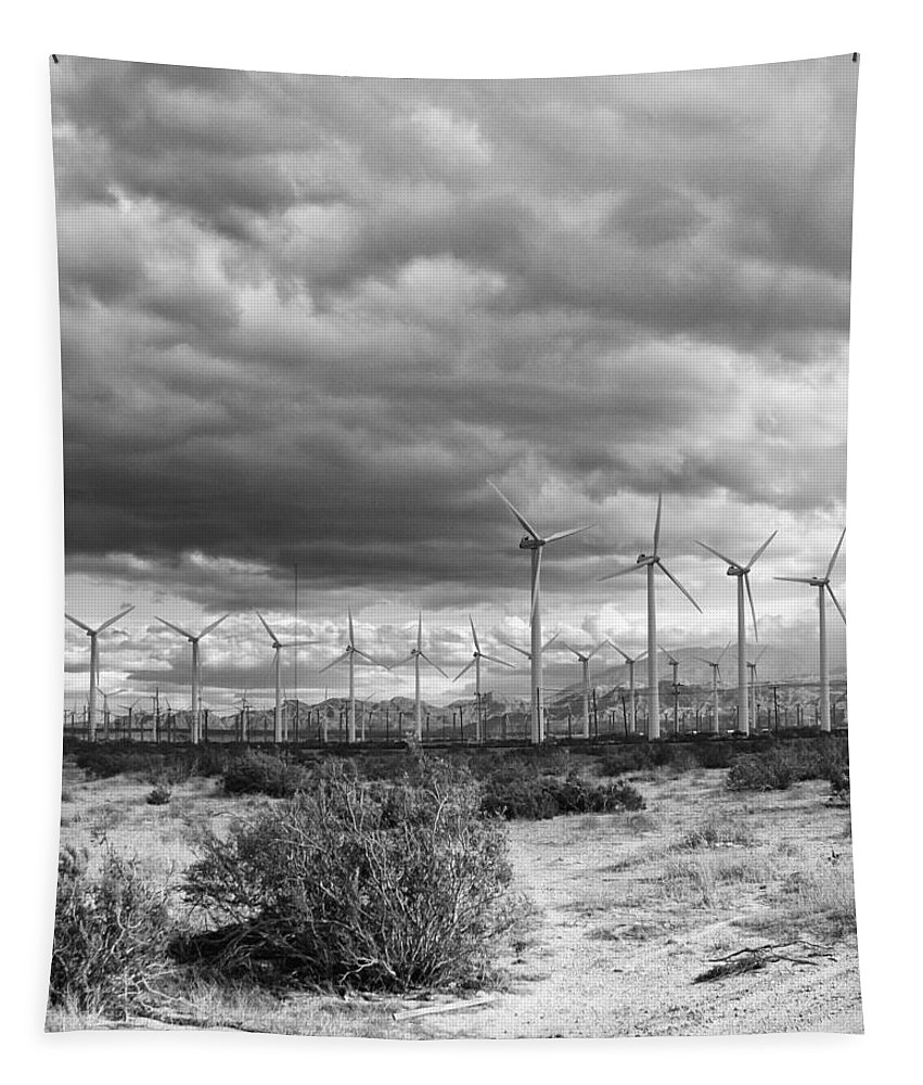 Windmills Tapestry featuring the photograph Beyond The Clouds Bw by William Dey