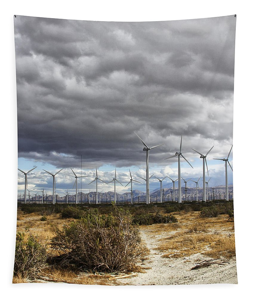 Windmills Tapestry featuring the photograph Beyond The Clouds Palm Springs by William Dey