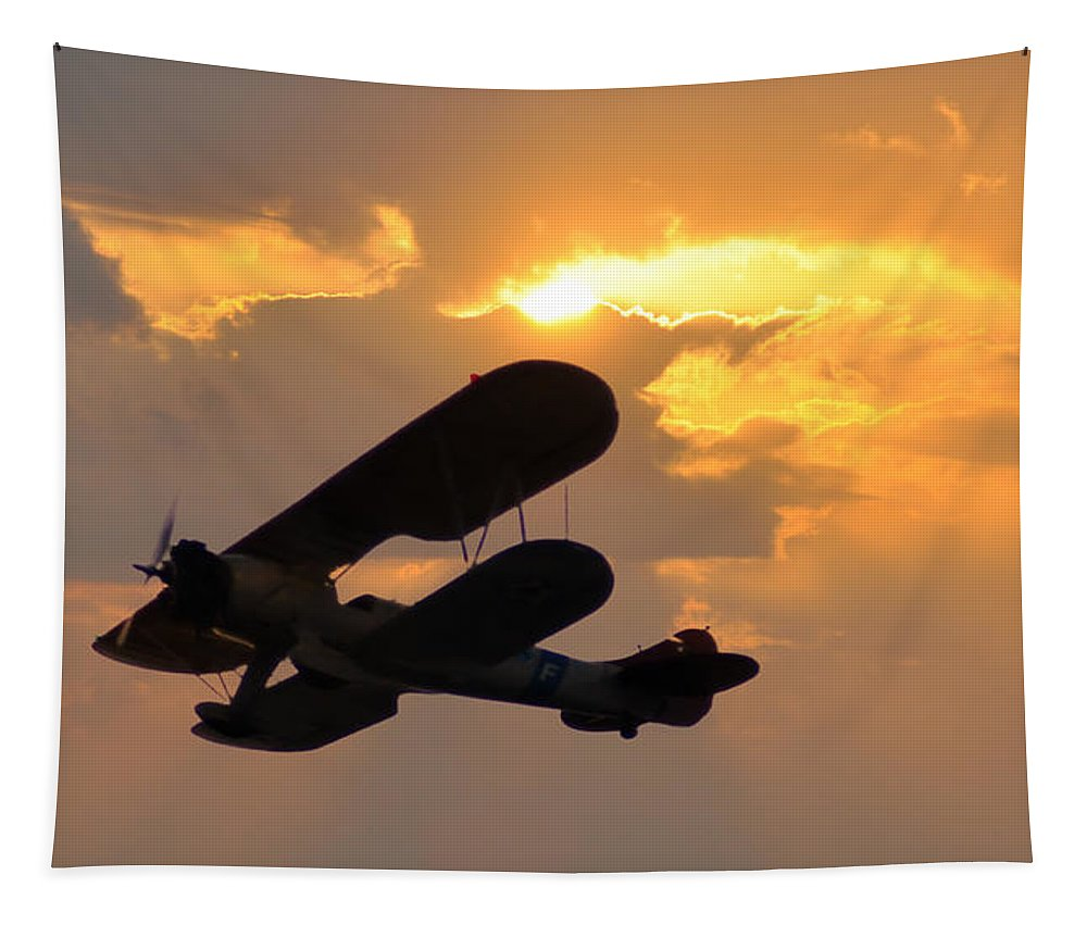 Biplane Tapestry featuring the photograph Biplane At Sunset by Bill Cannon