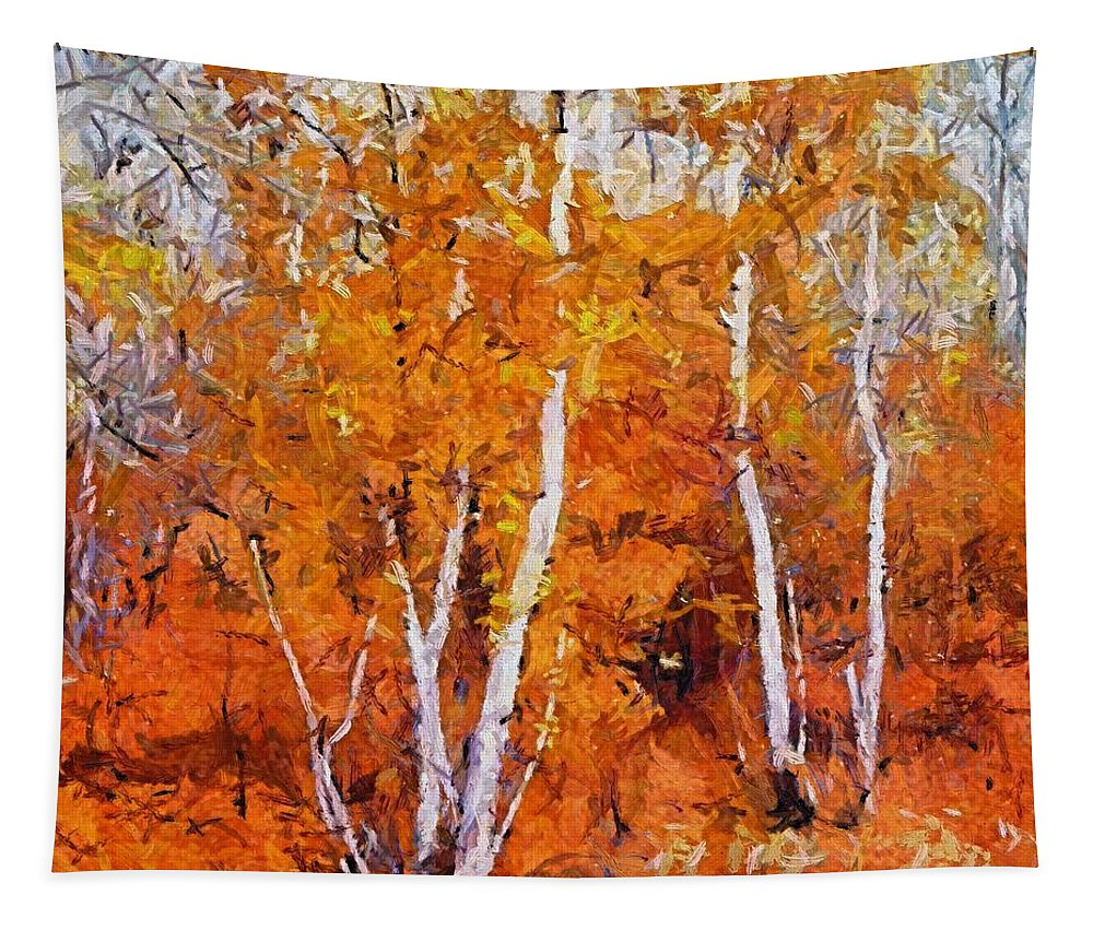 Fall Tapestry featuring the painting Birch Trees In Autumn by Dragica Micki Fortuna