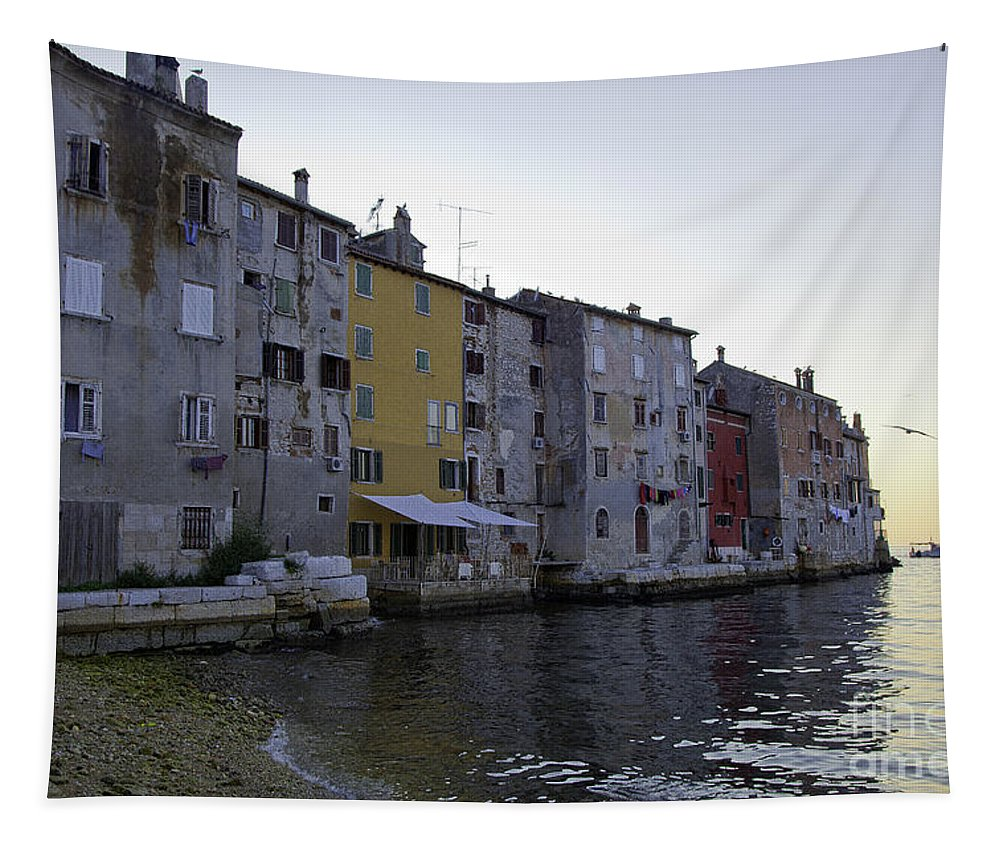 Buildings Tapestry featuring the photograph Bird Over Rovinj by Madeline Ellis