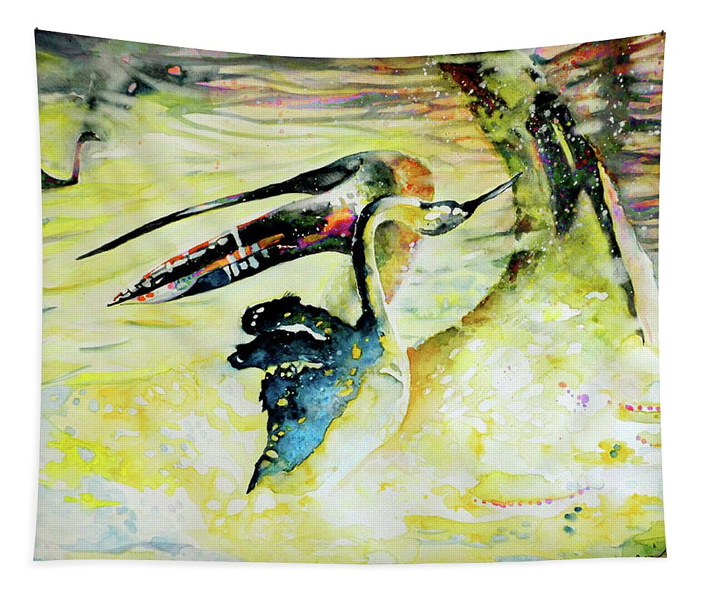 Birds Tapestry featuring the painting Birds Love Dance by Miki De Goodaboom