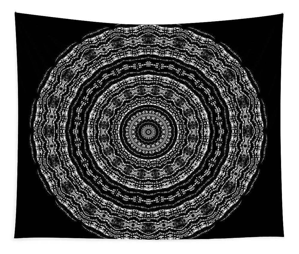 Digital Tapestry featuring the digital art Black And White Mandala No. 3 by Joy McKenzie