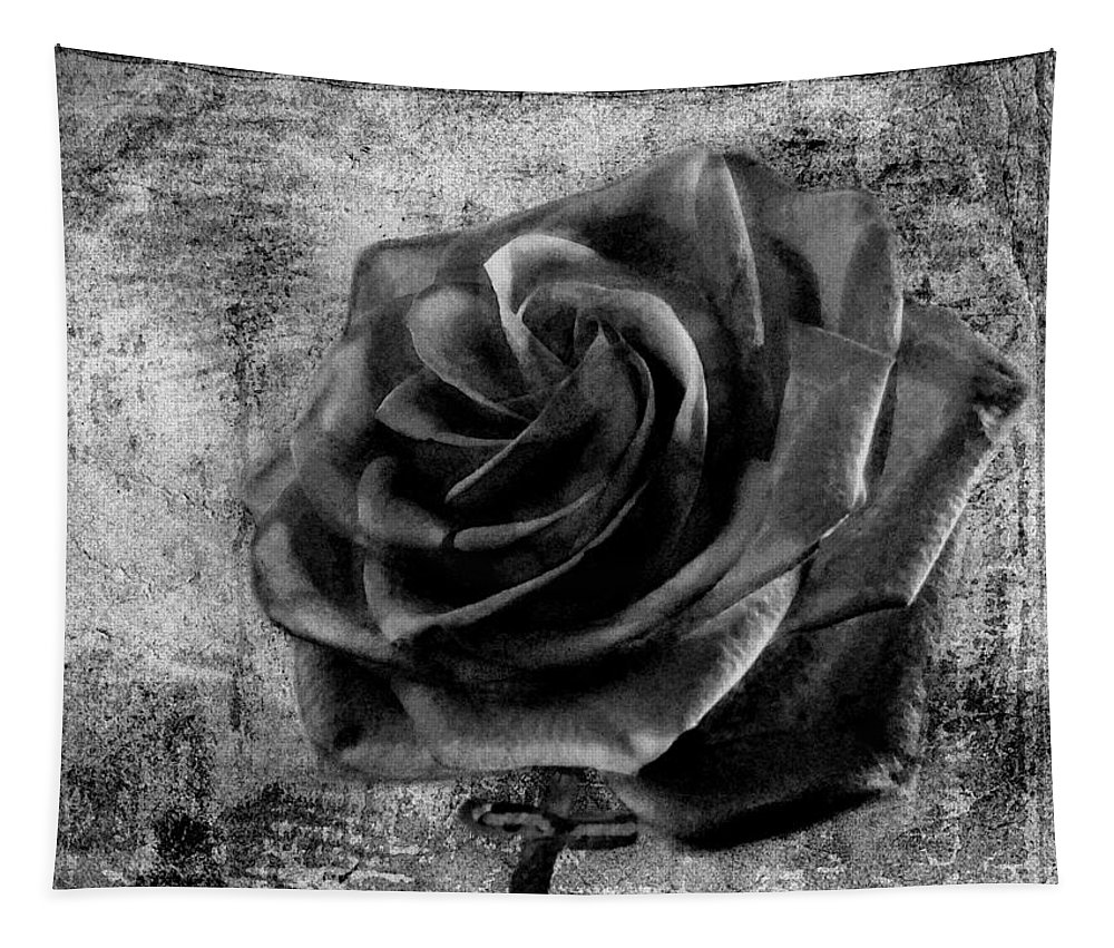 Rose Tapestry featuring the photograph Black Rose Eternal Bw by David Dehner