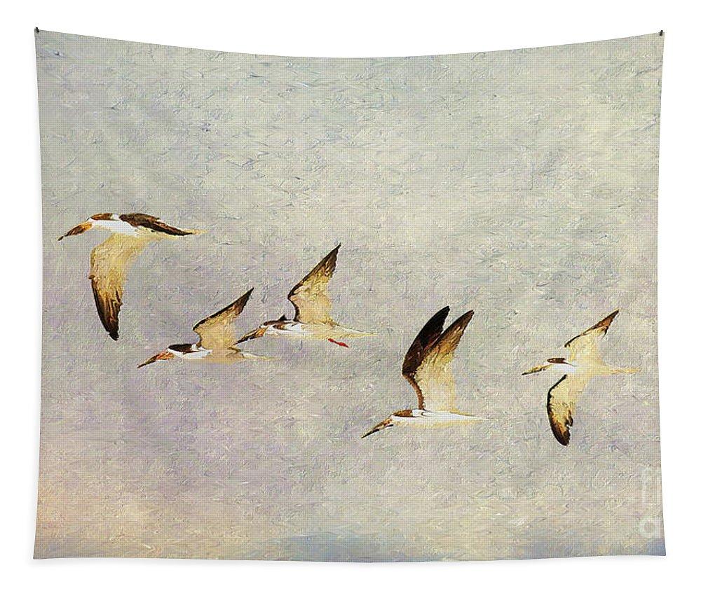 Wildlife Tapestry featuring the digital art Black Skimmers On The Move by Deborah Benoit