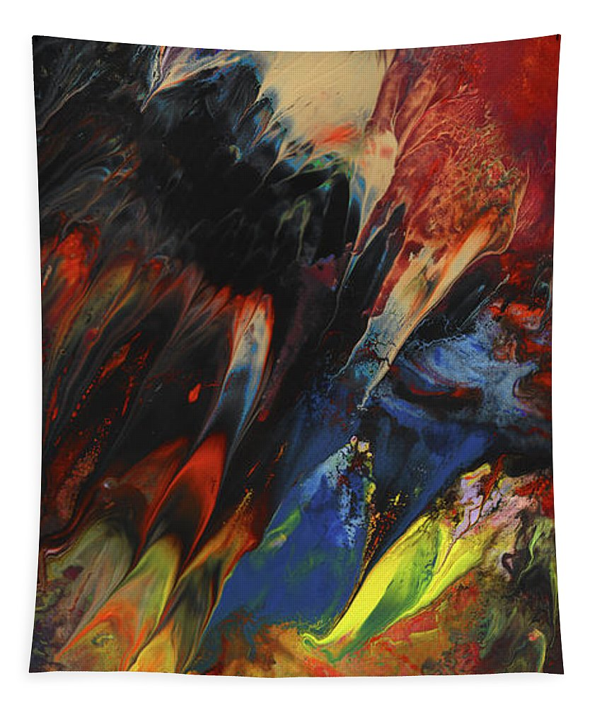 Abstract Tapestry featuring the painting Blackbird Rainbow Blitz by Miki De Goodaboom