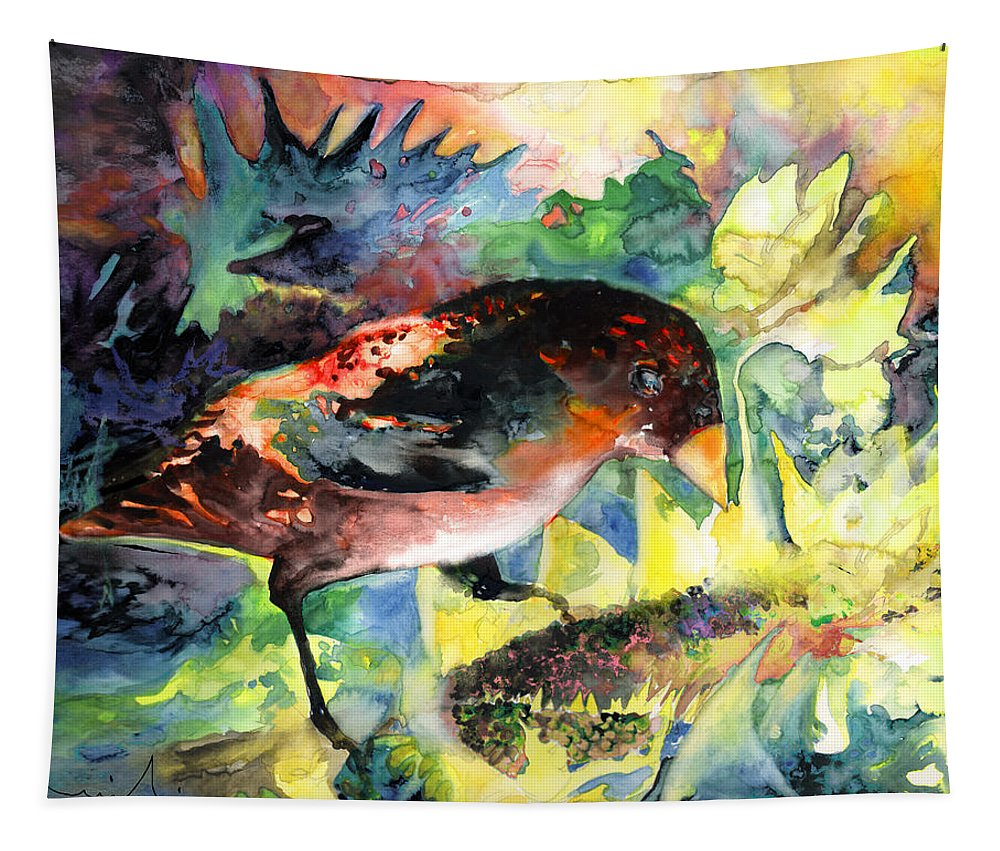 Birds Tapestry featuring the painting Blackbird With Sunflower by Miki De Goodaboom