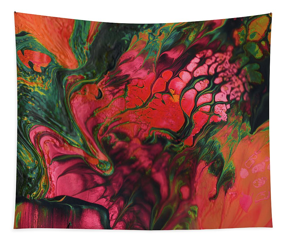 Abstract Tapestry featuring the painting Blood Blooms by Miki De Goodaboom