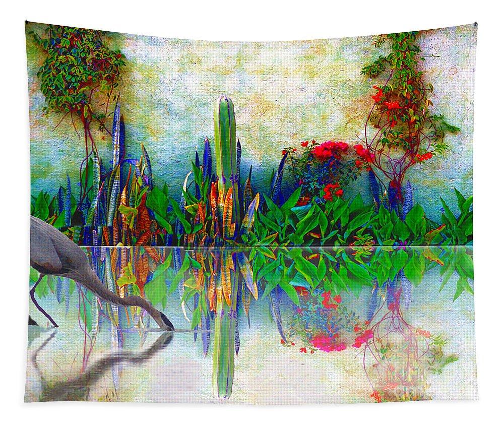 John+kolenberg Tapestry featuring the photograph Blue Heron In My Mexican Garden by John Kolenberg