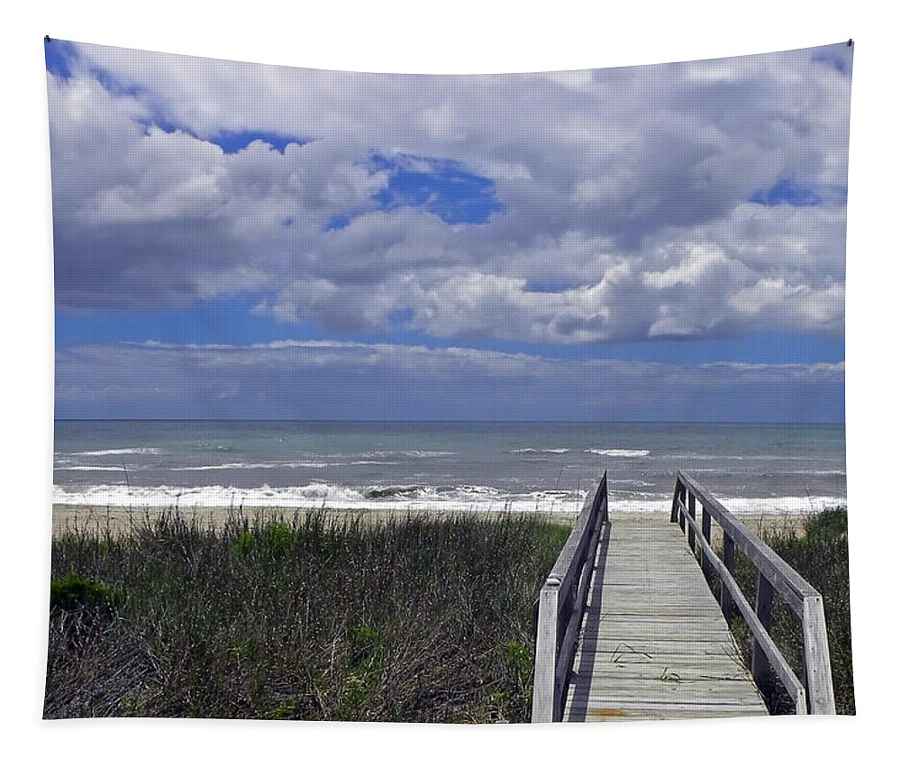 Beach Tapestry featuring the photograph Boardwalk To The Beach by Sandi OReilly