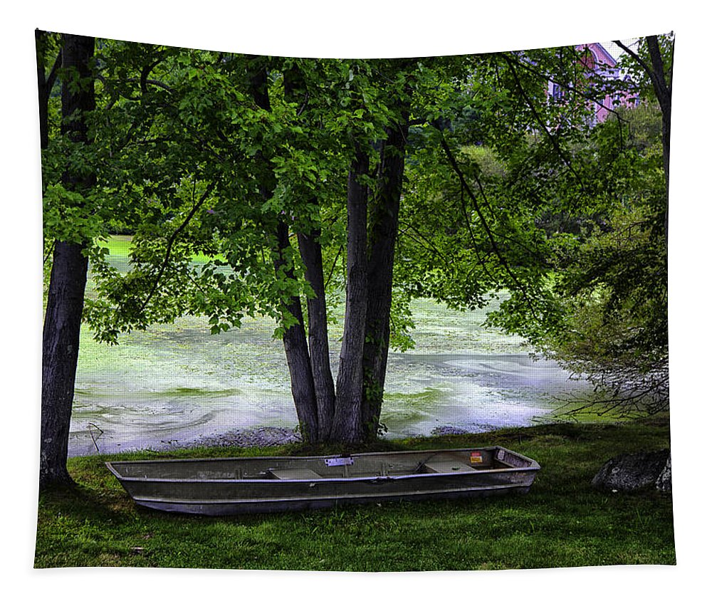 Tapestry featuring the photograph Boat By The Pond 2 by Madeline Ellis