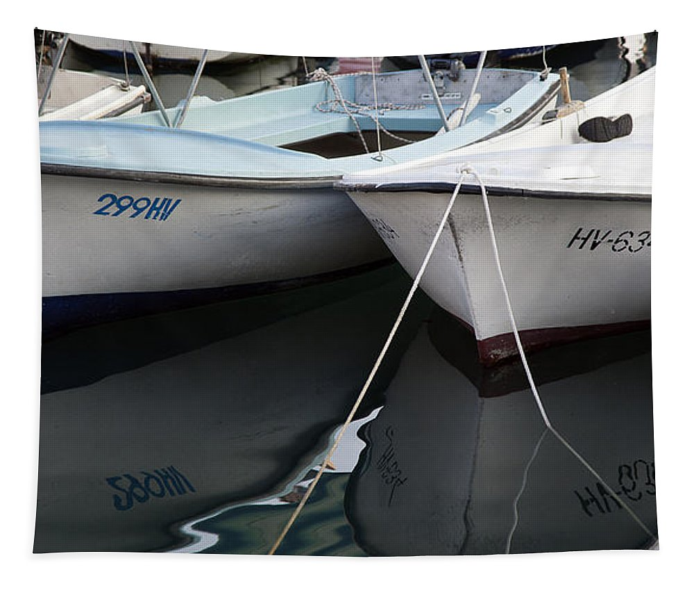 Boat Tapestry featuring the photograph Boat Reflections In Hvar by Madeline Ellis