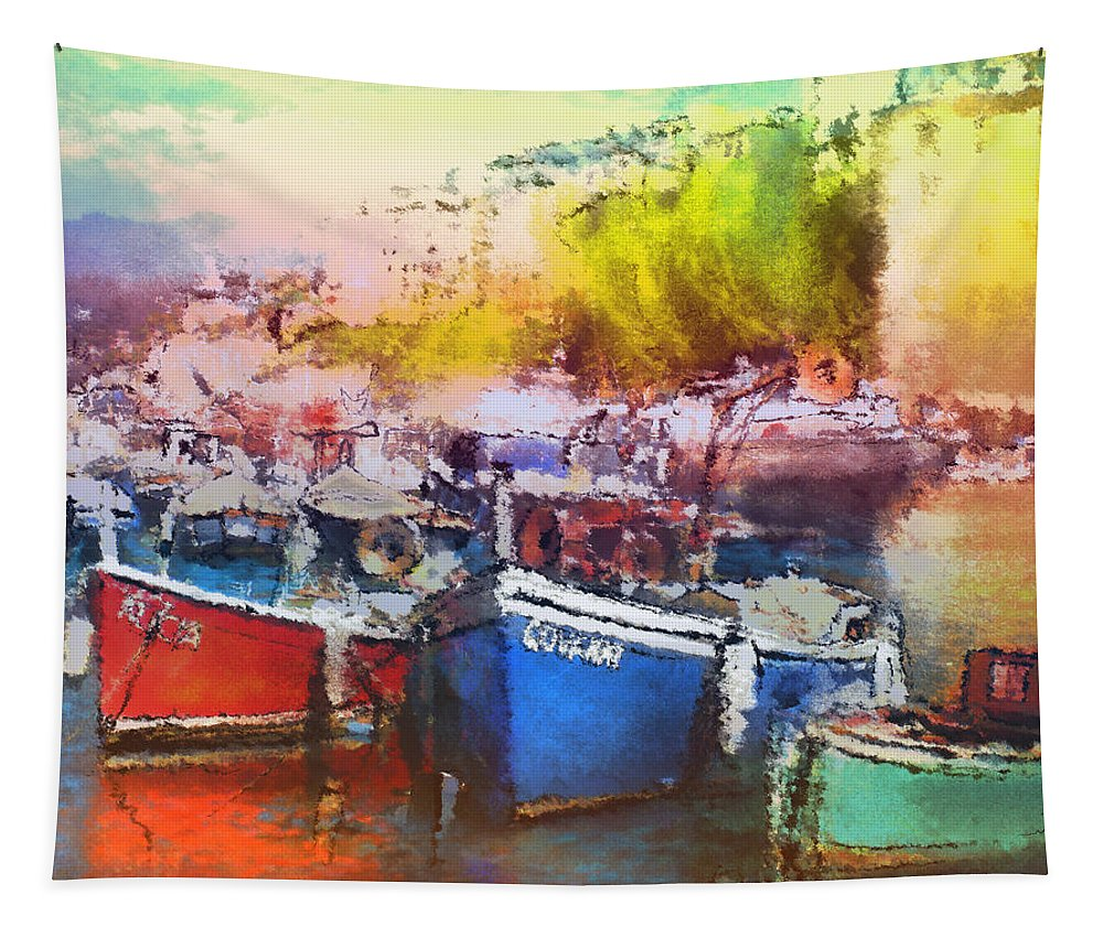 Travel Tapestry featuring the painting Boats In Italy by Miki De Goodaboom