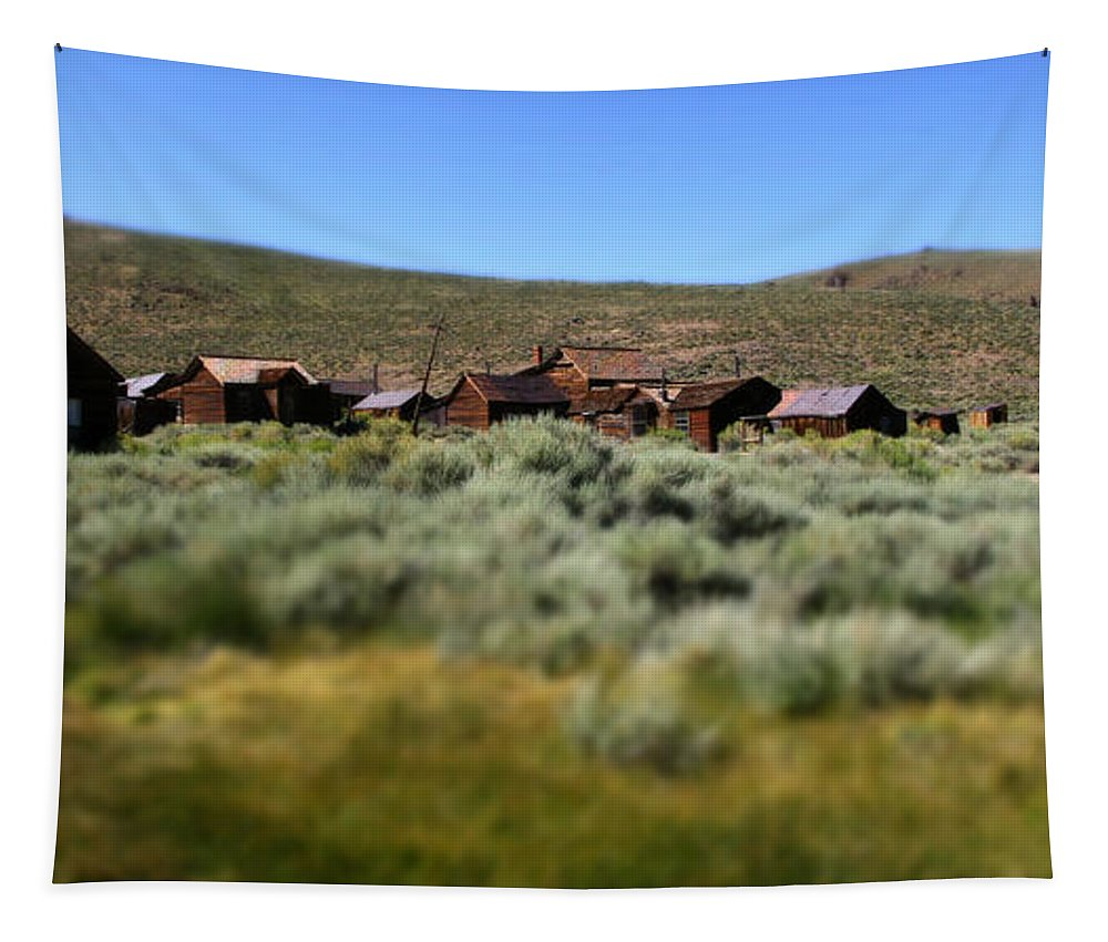 Bodie Ghost Town Landscape Tapestry featuring the photograph Bodie Ghost Town Landscape by Chris Brannen