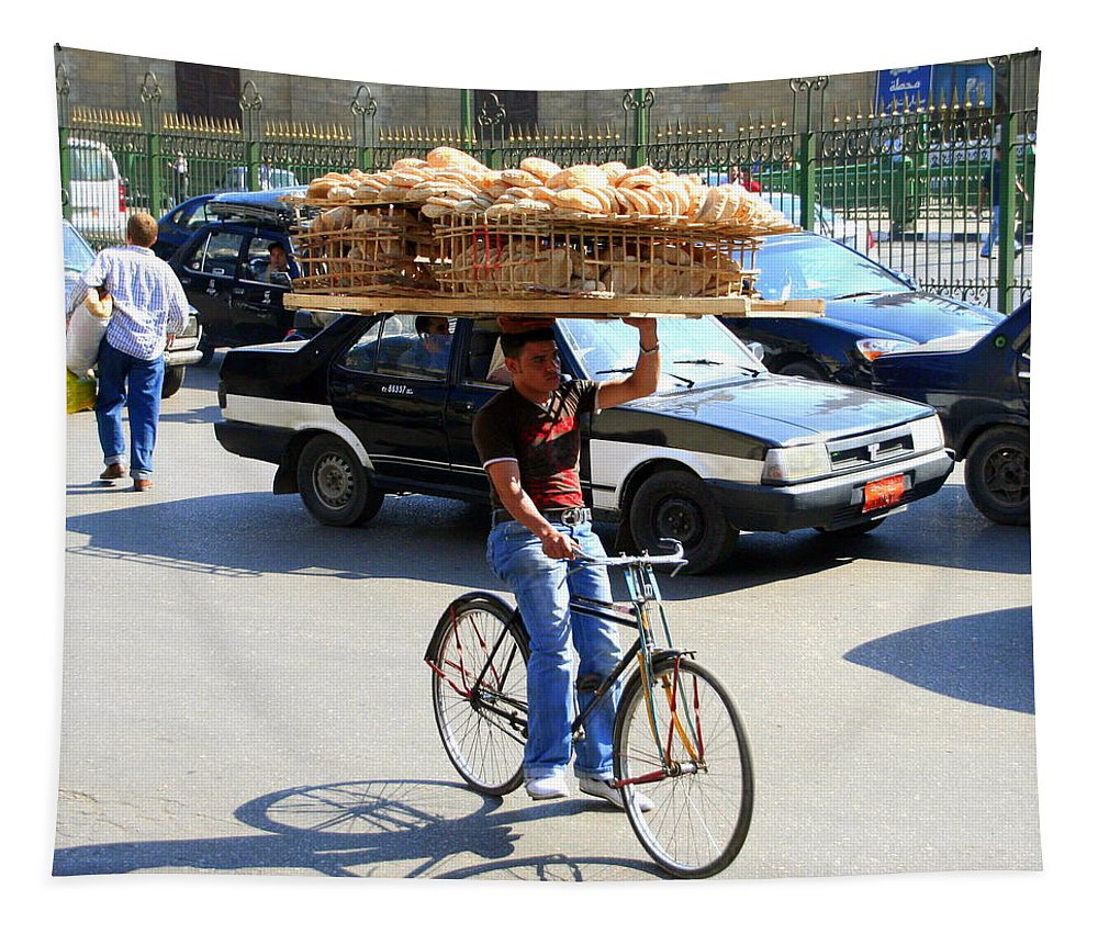Bread Tapestry featuring the photograph Bread On A Bicycle by Laurel Talabere