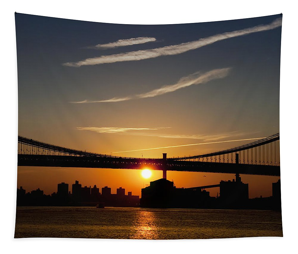 Brooklyn Bridge Sunrise Tapestry featuring the photograph Brooklyn Sunrise by Bill Cannon