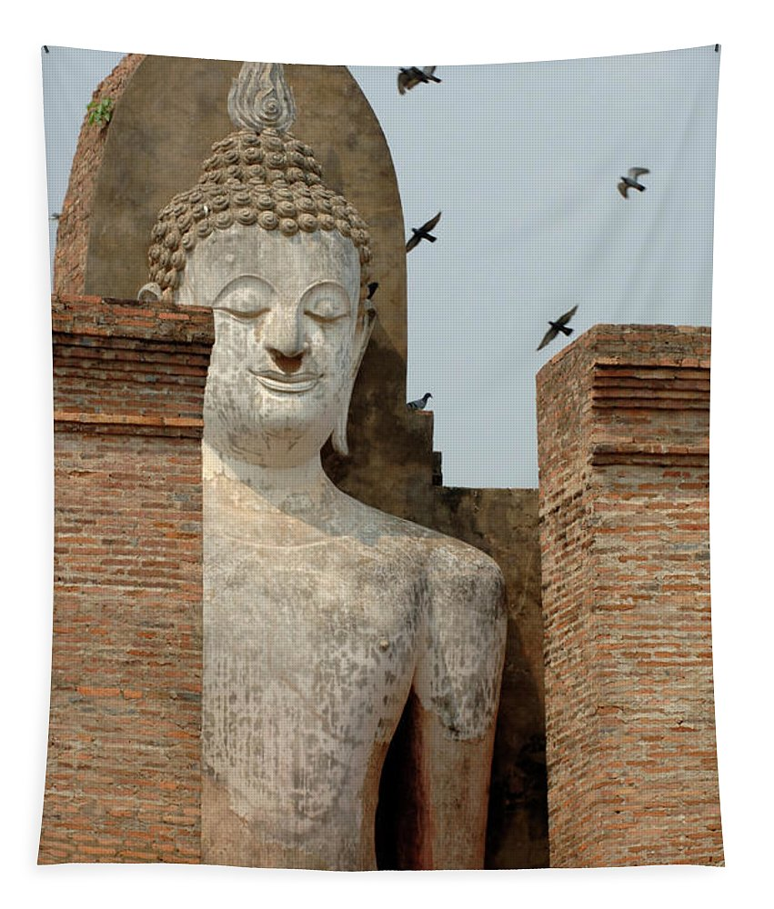 Khmier Tapestry featuring the photograph Buddha At Sukhothai by Bob Christopher