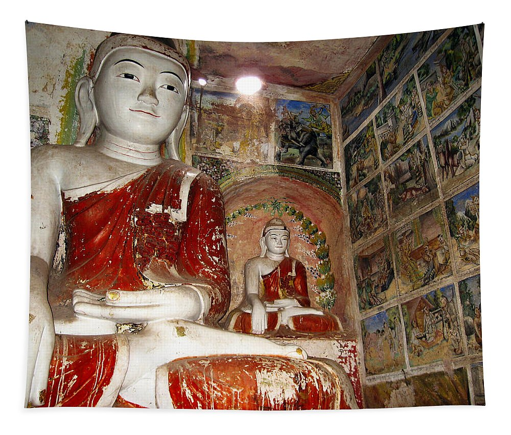 Buddha Tapestry featuring the photograph Buddha Image In Po Win Taung Caves. by RicardMN Photography