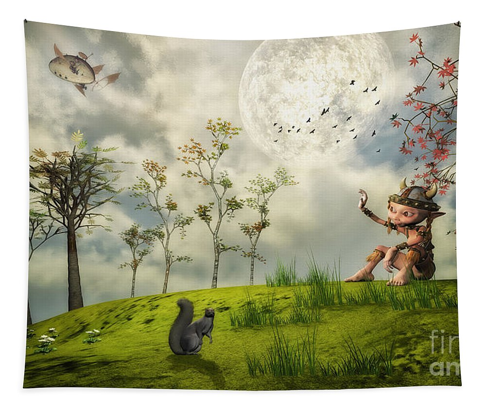 3d Tapestry featuring the digital art Bye For Now by Jutta Maria Pusl