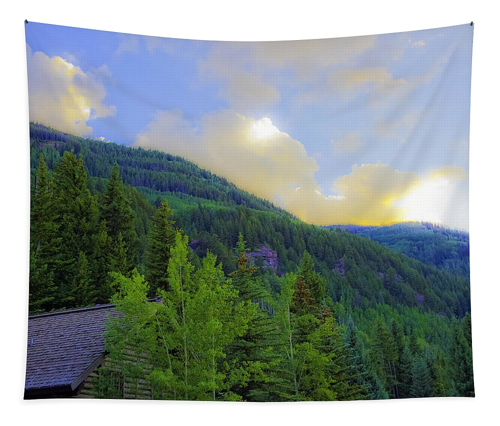 Colorado Tapestry featuring the photograph Cabin On The Mountain - Vail by Madeline Ellis