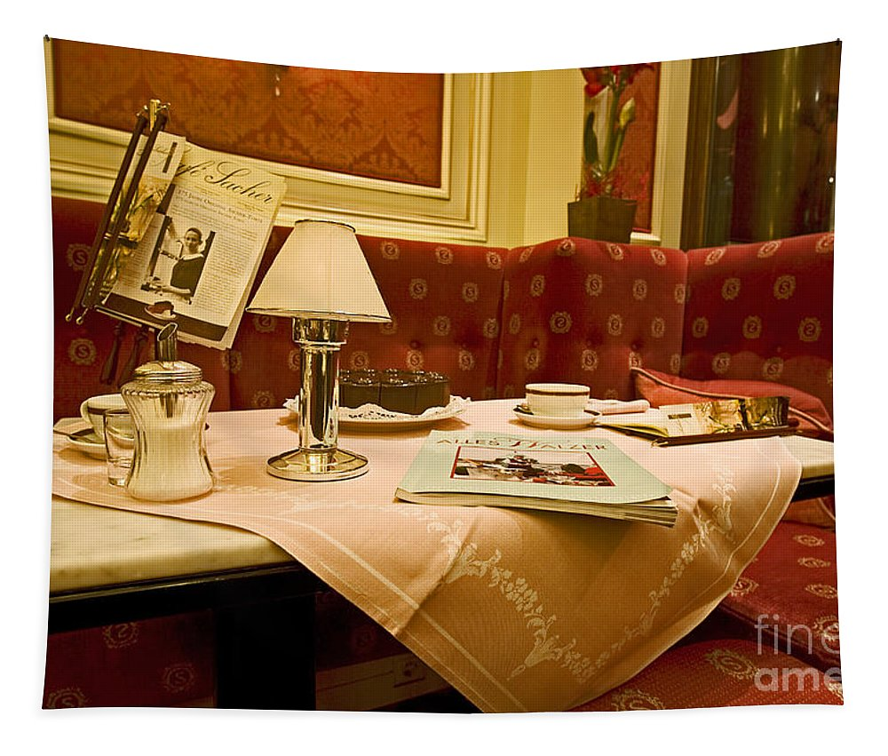 Cafe Tapestry featuring the photograph Cafe Sacher - Vienna by Madeline Ellis