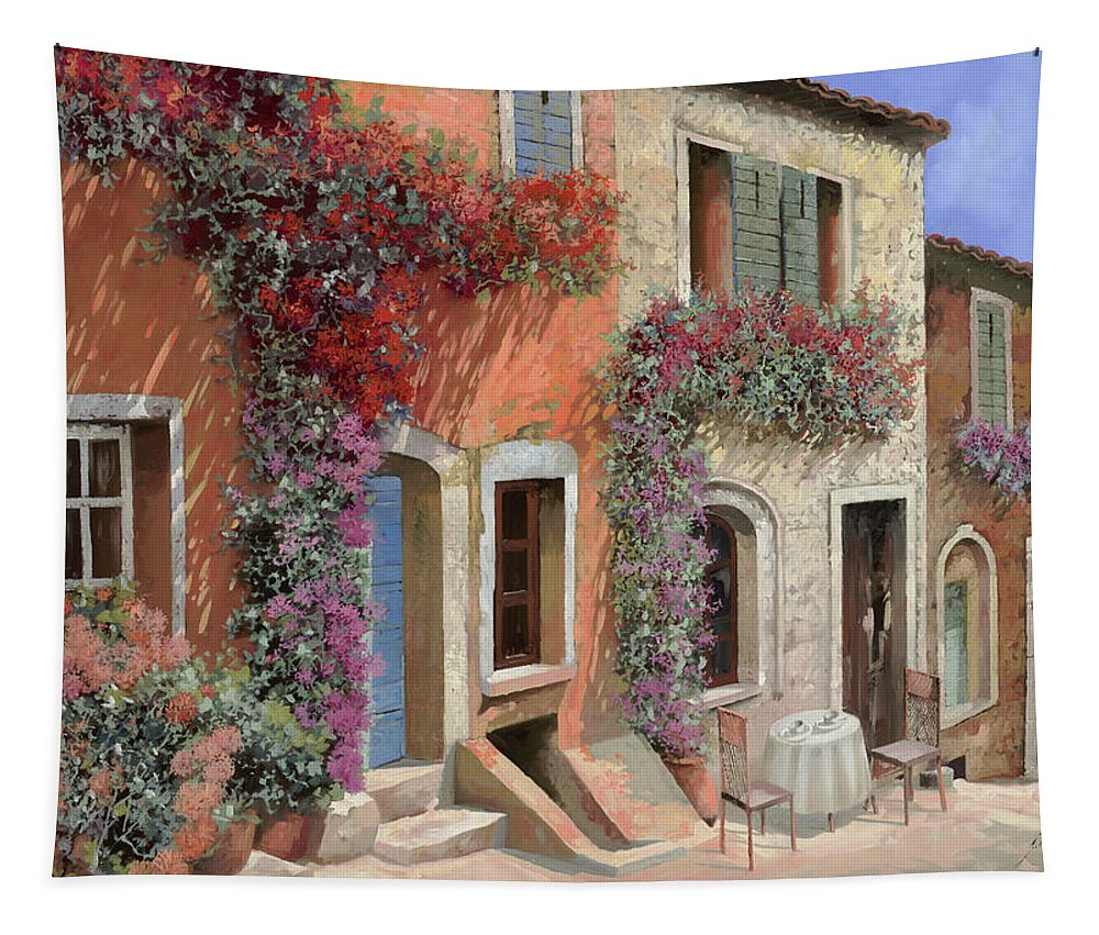 Caffe Tapestry featuring the painting Caffe Sulla Discesa by Guido Borelli