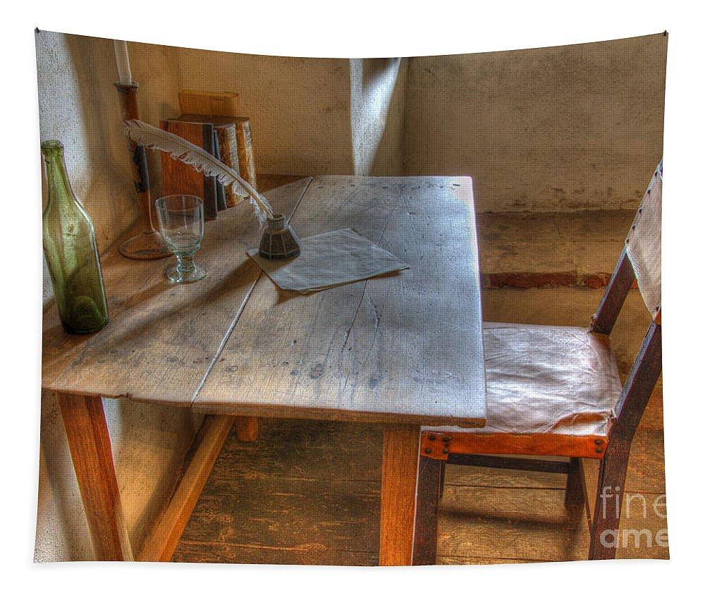 Mission La Purisima Tapestry featuring the photograph California Mission La Purisima Desk by Bob Christopher