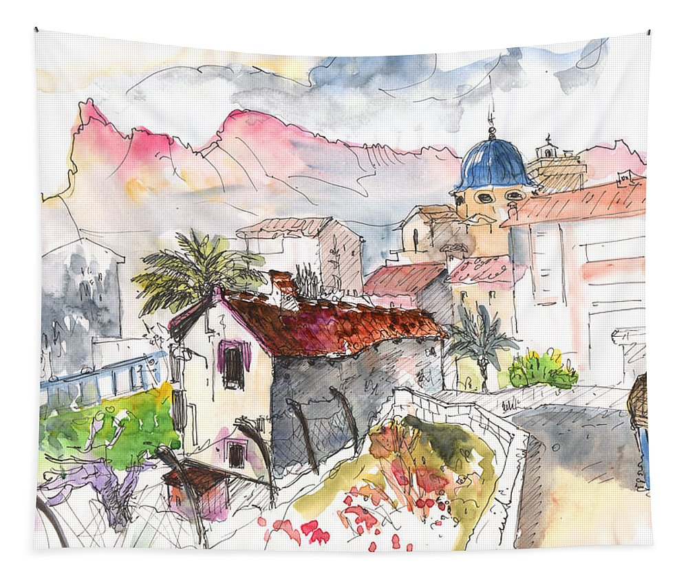 Travel Tapestry featuring the painting Callosa De Ensarria by Miki De Goodaboom