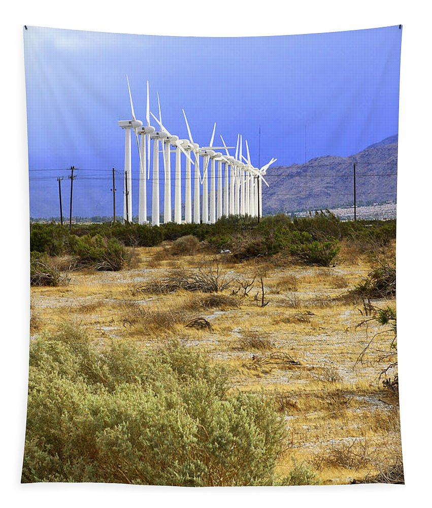 Windmills Tapestry featuring the photograph Calm Wind Palm Springs by William Dey