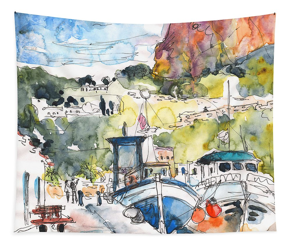 Travel Tapestry featuring the painting Calpe Harbour 05 by Miki De Goodaboom