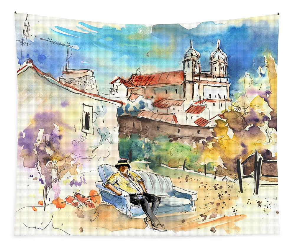 Portugal Tapestry featuring the painting Campo Maior In Portugal 03 by Miki De Goodaboom