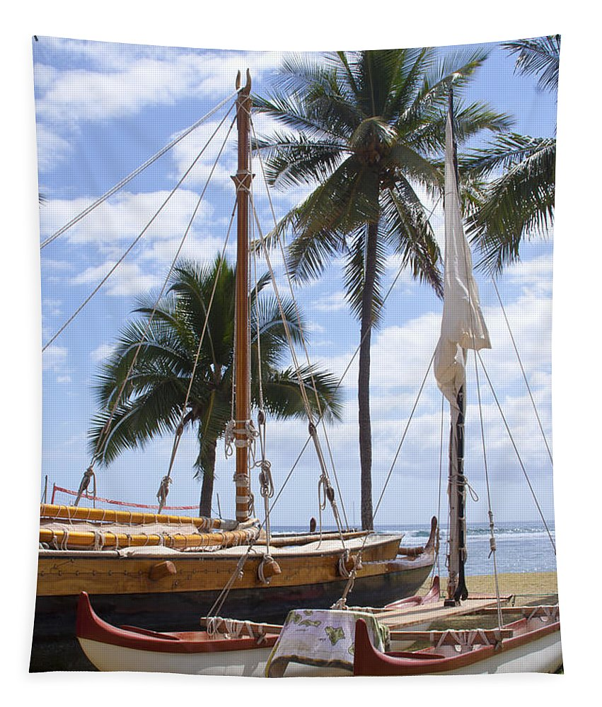 Aloha Tapestry featuring the photograph Canoes At Hui O Waa Lahaina Maui Hawaii by Sharon Mau