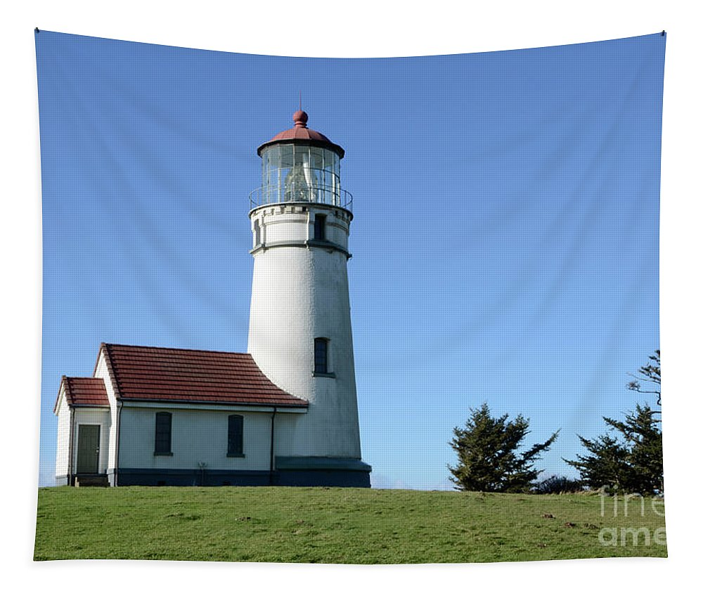 Pacific Ocean Tapestry featuring the photograph Cape Blanco Lighthouse 1 by Bob Christopher