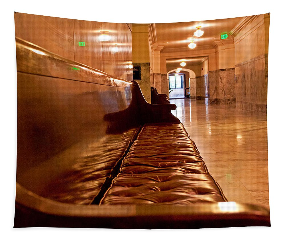 Bench Tapestry featuring the photograph Capital Halls by Tikvah's Hope