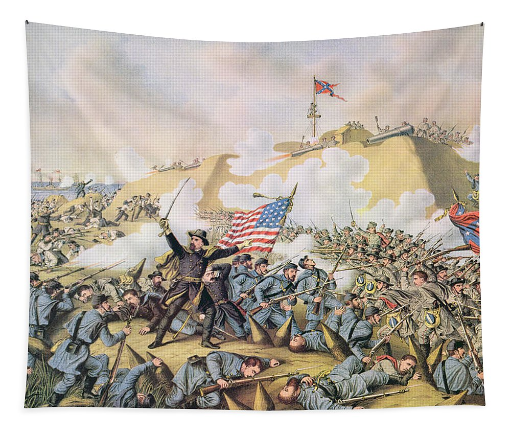 Troops; Soldiers; Battle; Warfare; Gunfire;confederate; Union; Army; Federal; U S; U S A; American; Garrison; General Terry; Navy; Naval Tapestry featuring the painting Capture Of Fort Fisher 15th January 1865 by American School