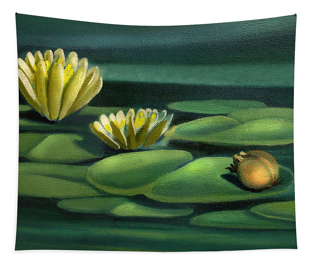 Frog Tapestry featuring the painting Card Of Frog With Lily Pad Flowers by Nancy Griswold